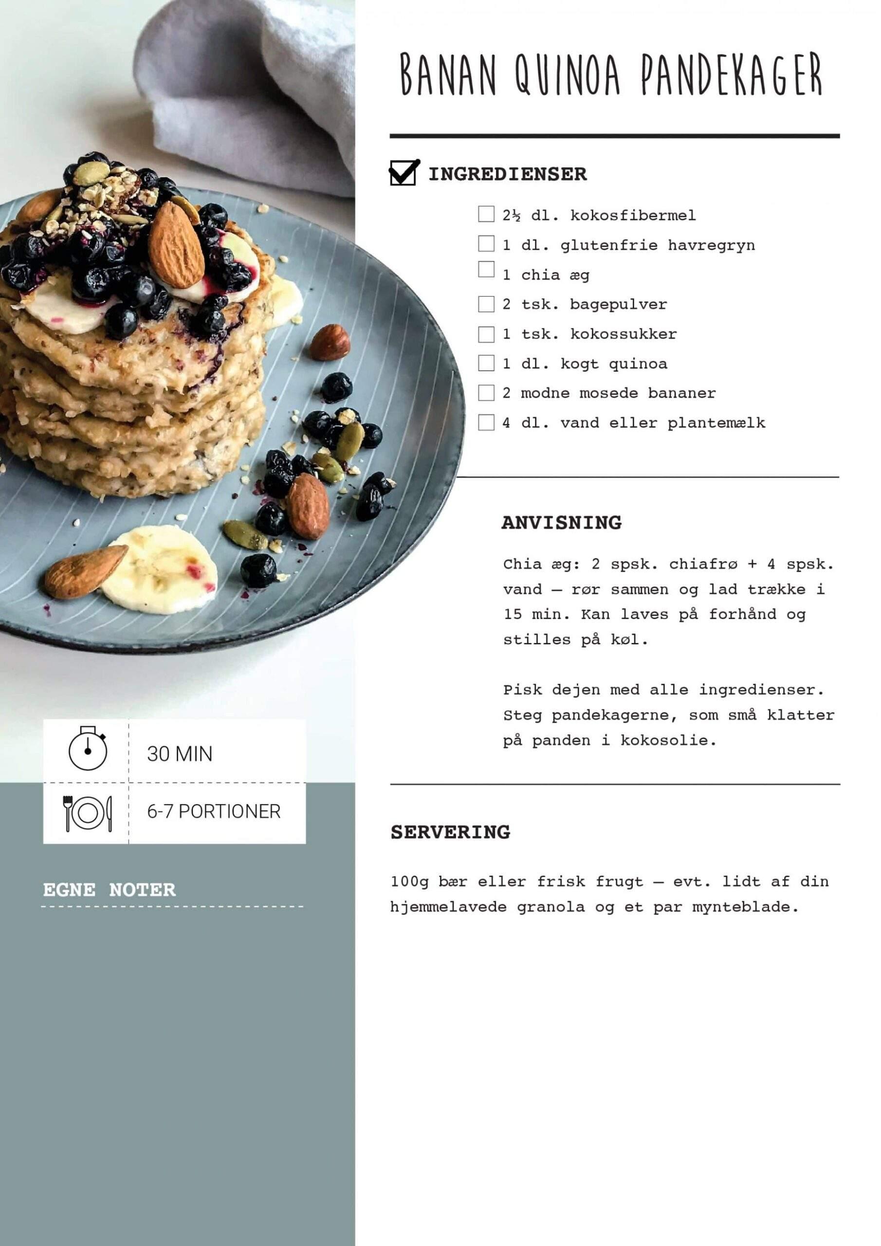 bannan quinoa pandekager opskrift