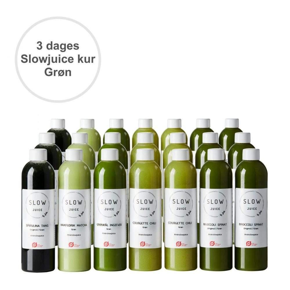 3 dages groen Slowjuice kur med tekst paa hvid baggrund