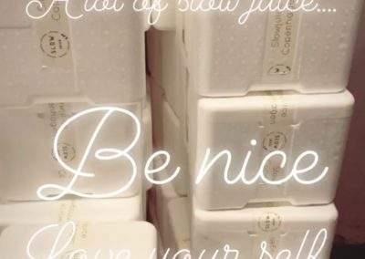 kasser med slowjuice fra Instagram