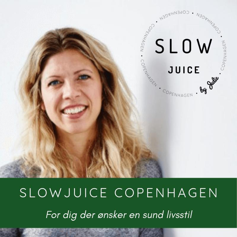 slowjuice copenhagen julie valgplakat grøn med hvid tekst for dig der ønsker en sund livsstil grå baggrund