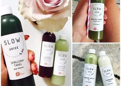 3 billeder af Slowjuice med forskellig baggrund